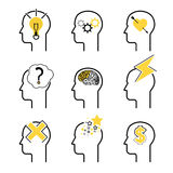Human mind process icon set. People brain thinking. Vector illustration for your design Stock Images