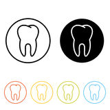 Human molar tooth icon. Human tooth pictogram. Thin line icons of molar in different colors Royalty Free Stock Photo