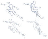 Human in motion artistic sketch Royalty Free Stock Photography