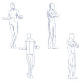 Human in motion artistic sketch. With shading Royalty Free Stock Images