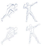 Human in motion artistic sketch with shading  Royalty Free Stock Image