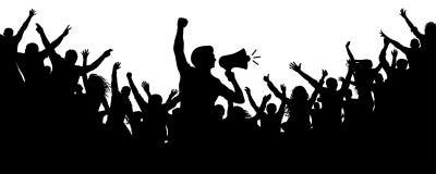 Human Motivator. Crowd of people silhouette vector. Speaker loudspeaker orator spokesman. Applause of a cheerful people mob. Sports fans. Demonstration royalty free illustration