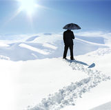 Human on mountain, snow, walk Stock Images