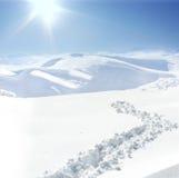Human on mountain, snow, walk Royalty Free Stock Photo