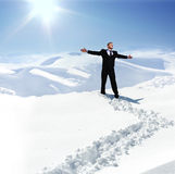 Human on mountain, winter Royalty Free Stock Photography