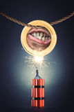 Human mouth in the coin Royalty Free Stock Image