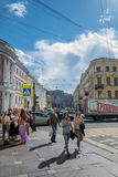 The human movement at the crossroads of Petersburg, Russia Royalty Free Stock Image