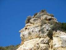 Human nature. A rock resembling a human face on the Algarve coast stock images