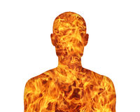 Human nature fire. Silhouette of a young mans portrait showing his inner world as a fire Royalty Free Stock Image