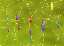 Human Network. A diverse human network connecting each other stock illustration