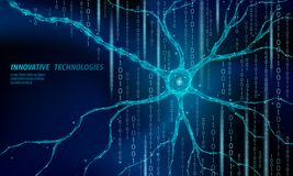 Human neuron low poly anatomy concept. Artificial neural network technology science medicine cloud computing. AI 3D. Abstract biology system. Polygonal blue vector illustration
