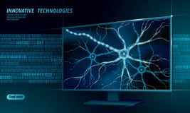 Human neuron low poly anatomy concept. Artificial neural network technology smart house display cloud computing. AI 3D Vector Illustration