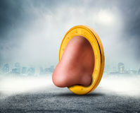 Human nose in the coin. In a foggy town Stock Images