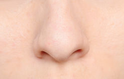 Human nose. Macro shot of human nose Stock Photo