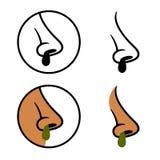 Human nose snot booger cold symbols Stock Photos