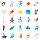 Human occupation icons set, isometric style. Human occupation icons set. Isometric set of 25 human occupation vector icons for web isolated on white background Royalty Free Stock Photography