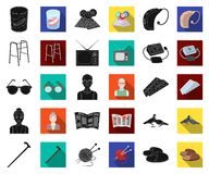Human old age black,flat icons in set collection for design. Pensioner, period of life vector symbol stock web. Human old age black,flat icons in set collection royalty free illustration