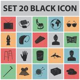 Human old age black icons in set collection for design. Pensioner, period of life vector symbol stock web illustration. Human old age black icons in set Stock Photos