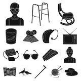 Human old age black icons in set collection for design. Pensioner, period of life vector symbol stock web illustration. Human old age black icons in set Royalty Free Stock Photos