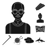 Human old age black icons in set collection for design. Pensioner, period of life vector symbol stock web illustration. Human old age black icons in set Royalty Free Stock Photography