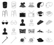 Human old age black,outline icons in set collection for design. Pensioner, period of life vector symbol stock web. Human old age black,outline icons in set vector illustration