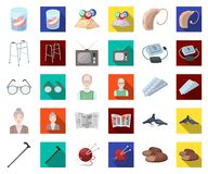 Human old age cartoon,flat icons in set collection for design. Pensioner, period of life vector symbol stock web. Human old age cartoon,flat icons in set stock illustration