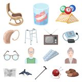 Human old age cartoon icons in set collection for design. Pensioner, period of life vector symbol stock web illustration. Human old age cartoon icons in set Stock Image