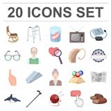 Human old age cartoon icons in set collection for design. Pensioner, period of life vector symbol stock web illustration. Human old age cartoon icons in set Royalty Free Stock Images