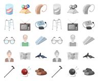 Human old age cartoon,mono icons in set collection for design. Pensioner, period of life vector symbol stock web. Human old age cartoon,mono icons in set royalty free illustration
