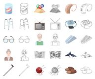 Human old age cartoon,outline icons in set collection for design. Pensioner, period of life vector symbol stock web. Human old age cartoon,outline icons in set stock illustration