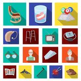 Human old age flat icons in set collection for design. Pensioner, period of life vector symbol stock web illustration. Human old age flat icons in set Royalty Free Stock Photo