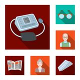 Human old age flat icons in set collection for design. Pensioner, period of life vector symbol stock web illustration. Human old age flat icons in set Stock Images