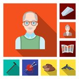 Human old age flat icons in set collection for design. Pensioner, period of life vector symbol stock web illustration. Human old age flat icons in set Royalty Free Stock Photos