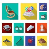 Human old age flat icons in set collection for design. Pensioner, period of life vector symbol stock web illustration. Human old age flat icons in set vector illustration