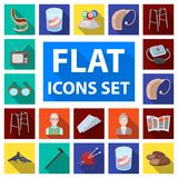 Human old age flat icons in set collection for design. Pensioner, period of life vector symbol stock web illustration. Human old age flat icons in set Stock Photo