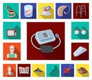 Human old age flat icons in set collection for design. Pensioner, period of life vector symbol stock web illustration. Human old age flat icons in set royalty free illustration