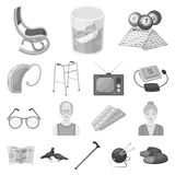 Human old age monochrome icons in set collection for design. Pensioner, period of life vector symbol stock web. Human old age monochrome icons in set collection Royalty Free Stock Images