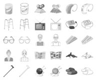 Human old age monochrome,outline icons in set collection for design. Pensioner, period of life vector symbol stock web. Human old age monochrome,outline icons in royalty free illustration