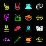 Human old age neon icons in set collection for design. Pensioner, period of life vector symbol stock web illustration. Human old age neon icons in set vector illustration