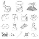 Human old age outline icons in set collection for design. Pensioner, period of life vector symbol stock web illustration. Human old age outline icons in set Royalty Free Stock Images