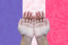 Human open empty hands to pray for France Royalty Free Stock Photo