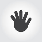 Human open palm, five fingers flat icon. Simple black logo of greeting gesture. Vector web pictogram or button. For websites, mobile apps, games and other Royalty Free Stock Photography