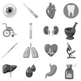 Human organ and medical equipment icons set. Gray monochrome illustration of 16 human organ and medical equipment vector icons for web stock illustration