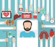 Human organ for transplantation design flat with patient. Vector illustration Royalty Free Stock Images