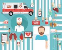 Human organ transplatation flat design with doctor, patient and human organ medical ca. R.Vector illustration stock illustration