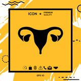 Human organs. Female uterus icon. Human organs. Female uterus silhouette symbol . Element for your design Royalty Free Stock Photo