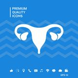 Human organs. Female uterus icon. Human organs. Female uterus silhouette symbol . Signs and symbols - graphic elements for your design Royalty Free Stock Photo
