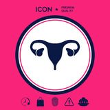 Human organs. Female uterus icon. Human organs. Female uterus silhouette symbol . Signs and symbols - graphic elements for your design Stock Image