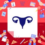 Human organs. Female uterus icon. Signs and symbols - graphic elements for your design Stock Images