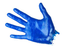 Human palm covered blue oil paint Royalty Free Stock Photos